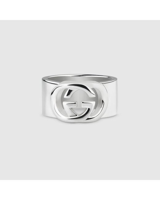 Gucci | Metallic Wide Band With Interlocking G Motif for Men | Lyst