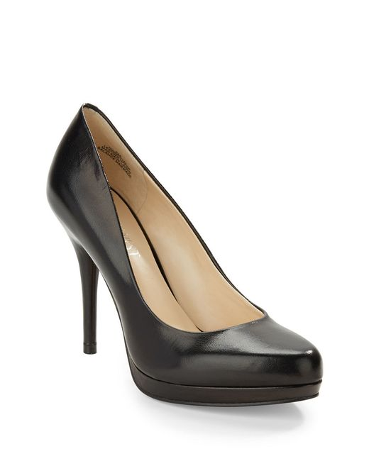 Nine West | Black Kristal Leather Platform Pumps | Lyst