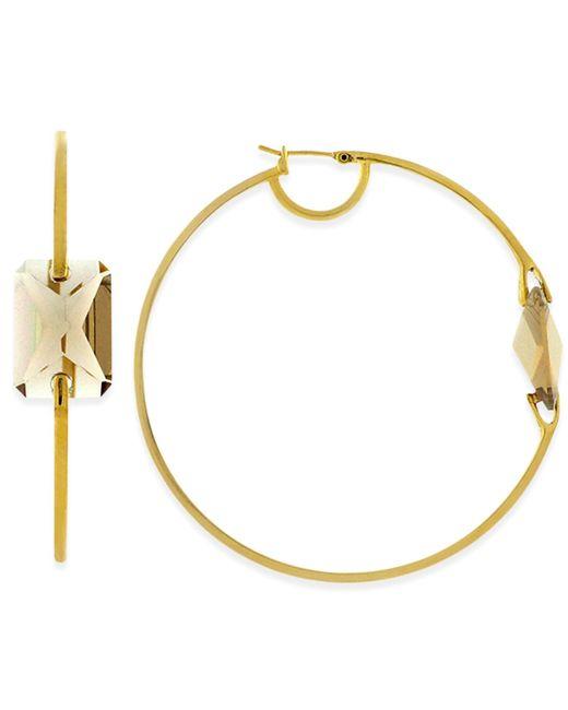 Vince Camuto | Metallic Gold-tone Crystal Hoop Earrings | Lyst