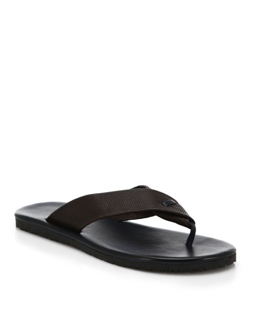 Saks Fifth Avenue | Brown Perforated Leather Flip Flops for Men | Lyst