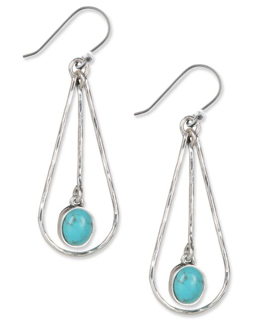 Lucky Brand | Metallic Earrings, Silver-tone Turquoise Drop Oblong Hoop Earrings | Lyst