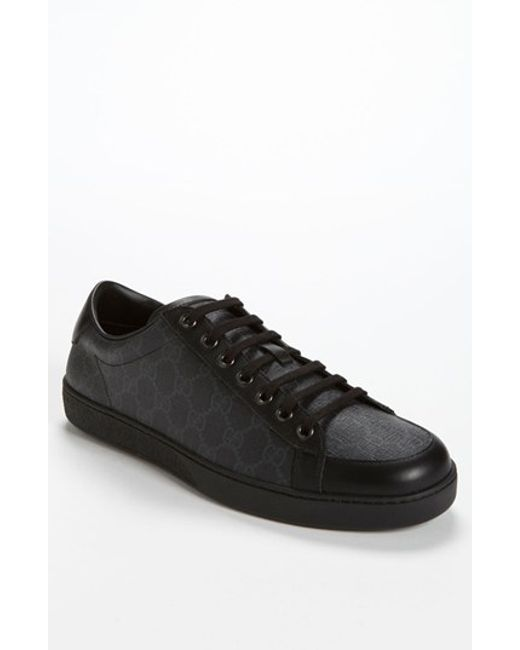 Gucci | Black Brooklyn Logo Leather Sneaker for Men | Lyst