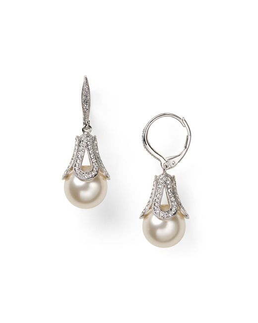 Nadri | White Pavé Detail Pearl Drop Earrings | Lyst