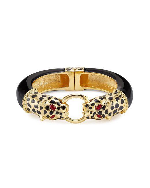 Kenneth Jay Lane | Metallic Gold-plated Resin Leopard Bracelet - Black | Lyst