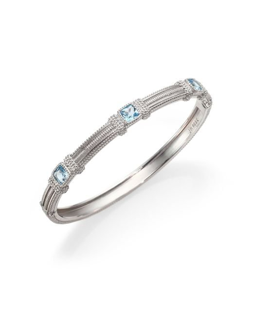 Judith Ripka | Metallic La Petite Blue Topaz & Sterling Silver Three-stone Bangle Bracelet | Lyst