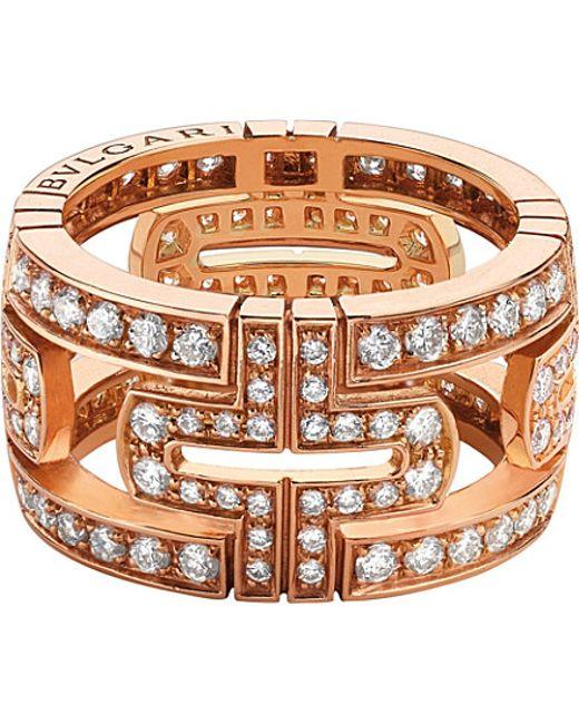 BVLGARI   Parentesi 18kt Pink-gold And Pavé-diamond Ring   Lyst