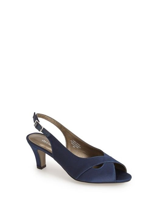 David Tate | Blue 'palm' Slingback Satin Sandal | Lyst