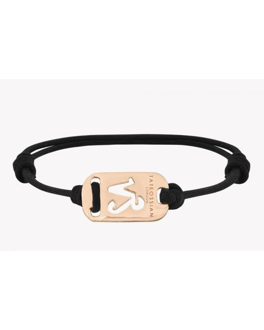 Tateossian | Pink Zodiac 18k Yellow Gold Capricorn Black Waxed Cord Bracelet for Men | Lyst