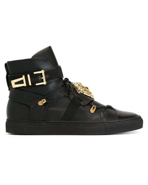 Versace Medusa Lace-up Hi-top Sneakers in Black for Men | Lyst