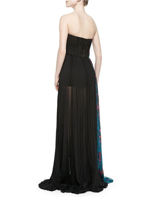 mendel Side-panel Strapless Silk Gown in Blue (BLUE PRINT/NOIR ...