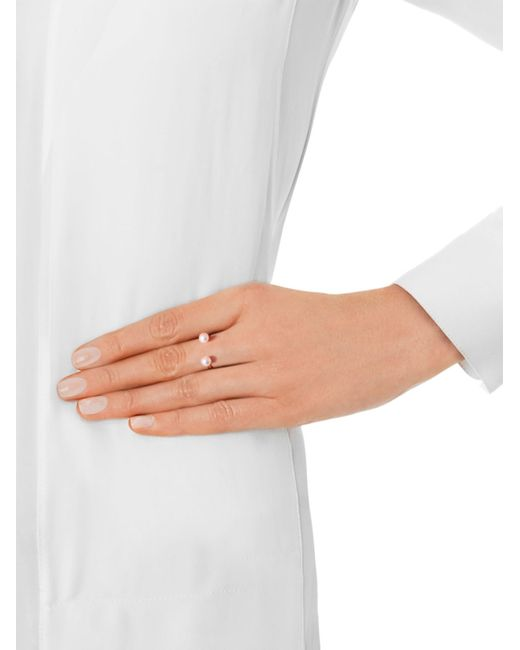 Delfina Delettrez | Metallic Double-Pearl Yellow-Gold Ring | Lyst