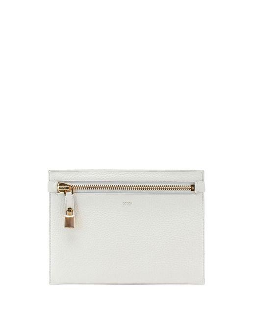 Tom Ford | White Large Calfskin Zip Clutch Bag | Lyst