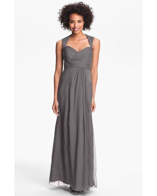 Amsale | Gray Crinkled Silk Chiffon Gown | Lyst