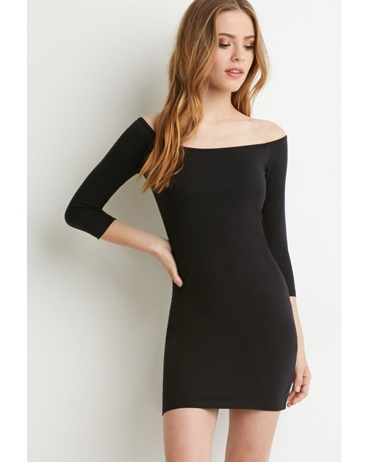 Forever 21 | Black Off-the-shoulder Bodycon Dress | Lyst