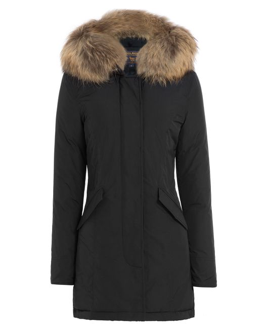 woolrich luxury arctic down parka with fur trimmed hood blue in black lyst. Black Bedroom Furniture Sets. Home Design Ideas