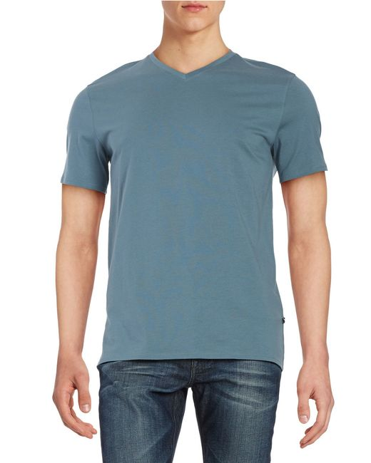 Black brown peruvian pima cotton v neck tee in blue for for Peruvian cotton t shirts