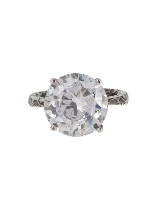 Bottega Veneta | Metallic Cubic Zirconia And Silver Ring | Lyst