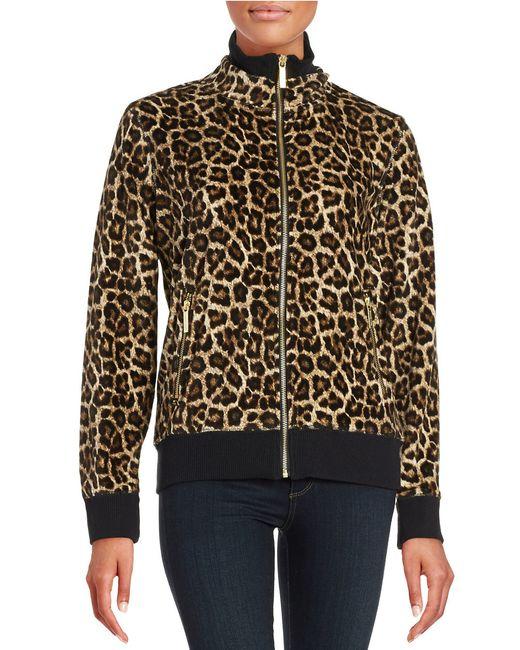MICHAEL Michael Kors | Multicolor Petite Leopard-print Fleece Track Jacket | Lyst