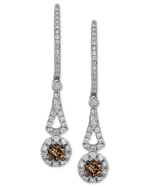 Le Vian | Brown Chocolatier® Chocolate Diamond And White Diamond Drop Earrings In 14k White Gold (1/2 Ct. T.w.) | Lyst