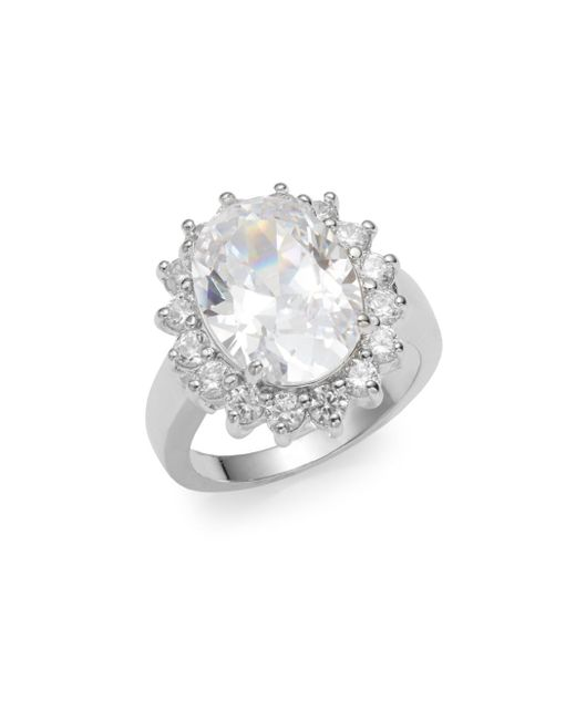 CZ by Kenneth Jay Lane | Metallic Oval White Stone Ring | Lyst
