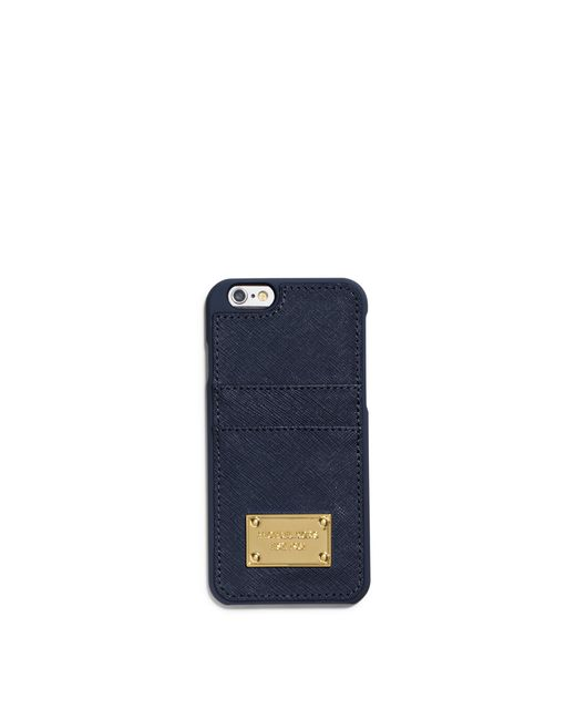 Michael Kors | Blue Saffiano Leather Pocket Smartphone Case For Iphone 6 | Lyst