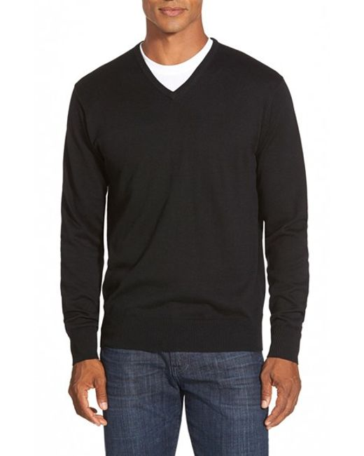 Peter Millar | Black Silk Blend V-neck Sweater for Men | Lyst