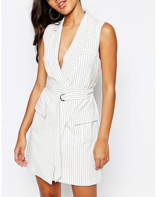 missguided pin stripe wrap belt blazer dress in white lyst