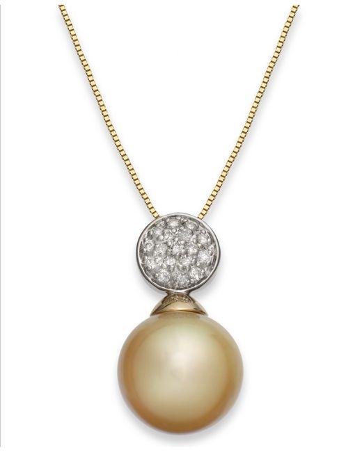 Macy's | Metallic Cubic Zirconia Elephant Pendant Necklace In 10k Gold | Lyst
