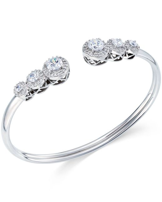 Arabella | Metallic Swarovski Zirconia Bangle Bracelet In Sterling Silver | Lyst