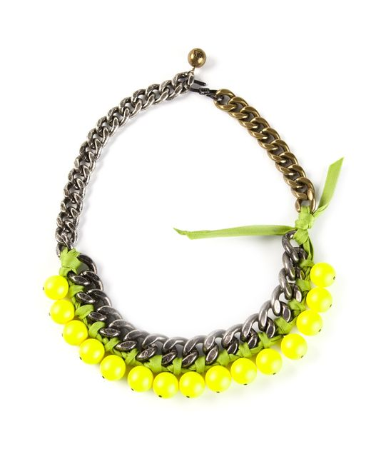 Lanvin | Green Beaded Chain Necklace | Lyst