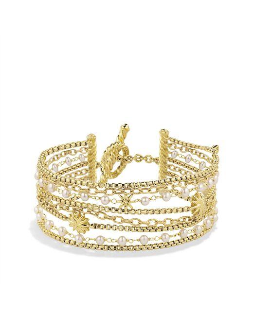 David Yurman | Metallic Starburst Chain Bracelet With Pearls In 18k Gold | Lyst