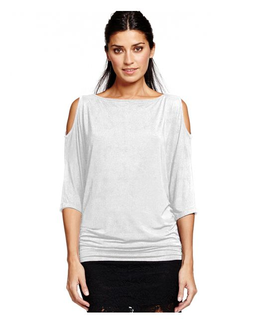 Michael Stars | White 3/4 Sleeve Wide Neck Cold Shoulder Top | Lyst