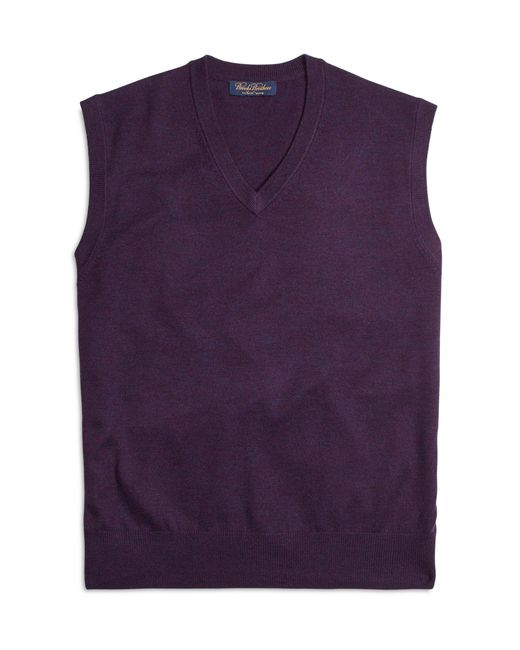 Brooks Brothers | Purple Saxxon Wool Sweater Vest for Men | Lyst