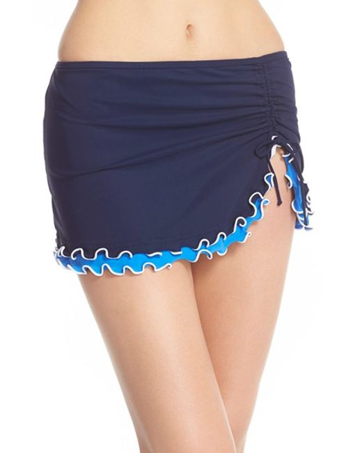 gottex blue lagoon skirted bottoms in blue navy