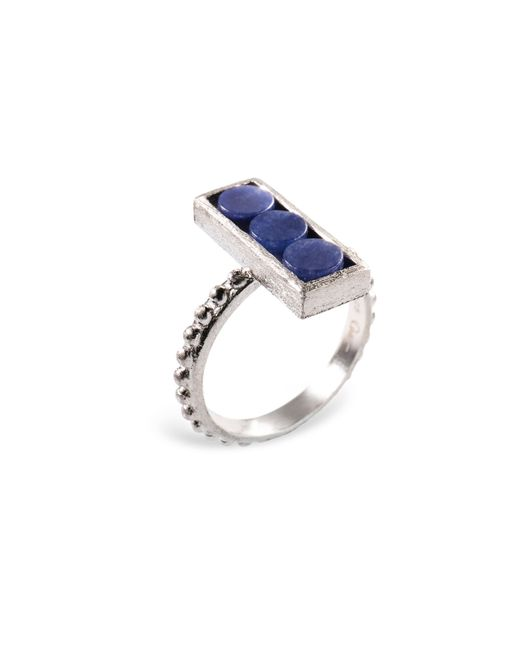 Ona Chan Jewelry | Metallic Rectangle Ring With Beaded Shank Blue Quartz | Lyst