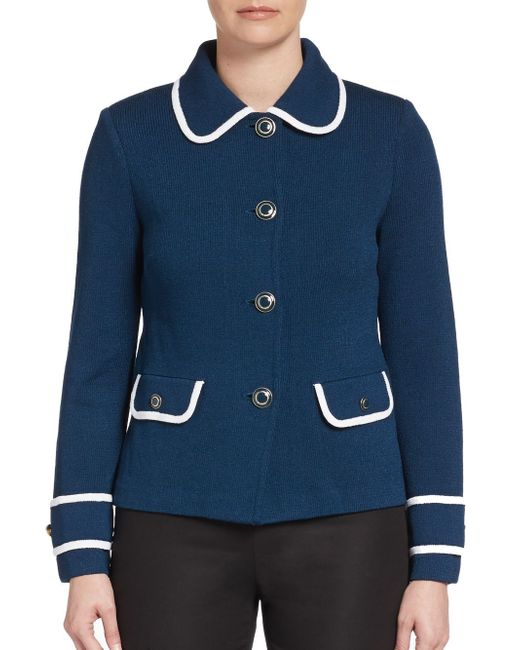 St. John | Blue Santana Bordered Knit Cardigan | Lyst