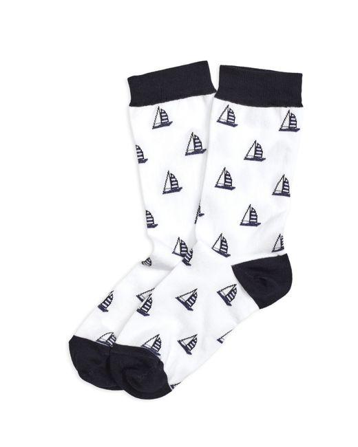 Brooks Brothers | White Sailboat Cotton Blend Crew Socks | Lyst