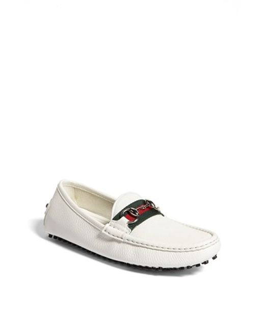 Gucci | White Damo Driving Loafer | Lyst