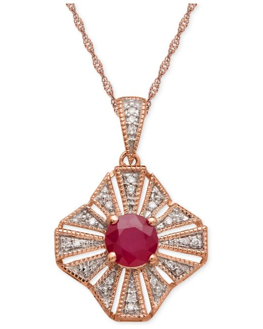 Macy's | Red Ruby (1ct. T.w.) And Diamond Accent Pendant Necklace In 14k Rose Gold | Lyst