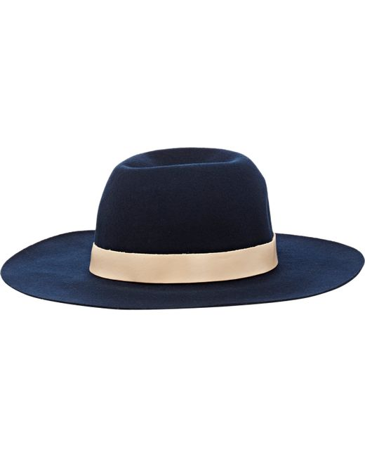 Hat Attack   Blue Leather-trimmed Hat   Lyst