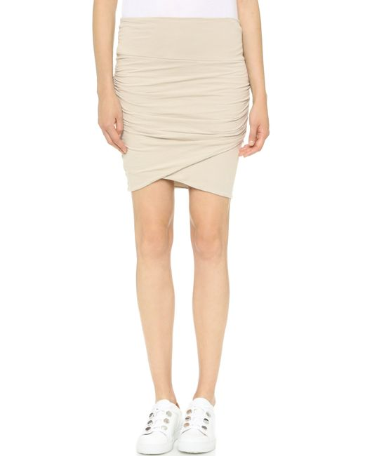 high waist wrap skirt in beige driftwood lyst