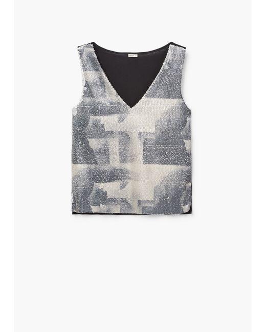 mango reversible sequins t shirt in black save 60 lyst. Black Bedroom Furniture Sets. Home Design Ideas