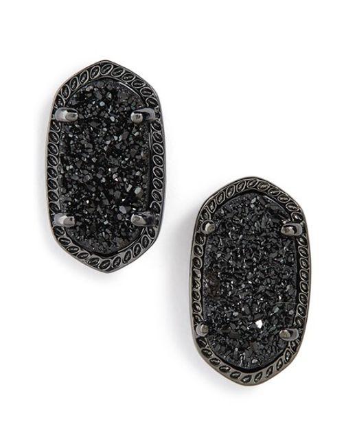 Kendra Scott | Black Ellie Oval Stone Stud Earrings | Lyst