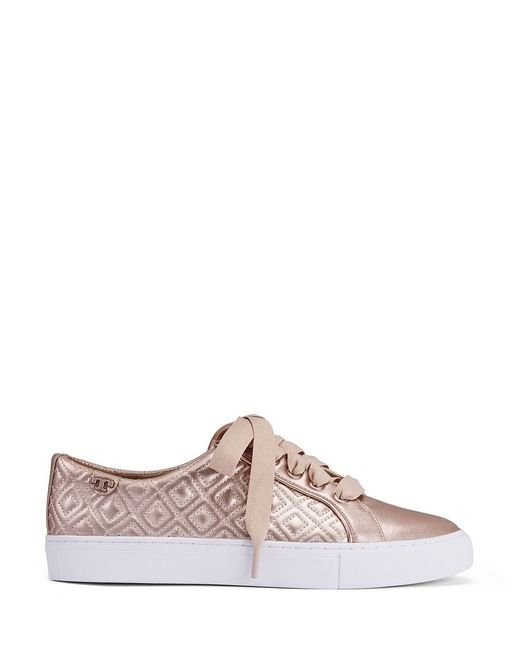 Tory Burch Marion Quilted Metallic Sneaker In Pink Rose