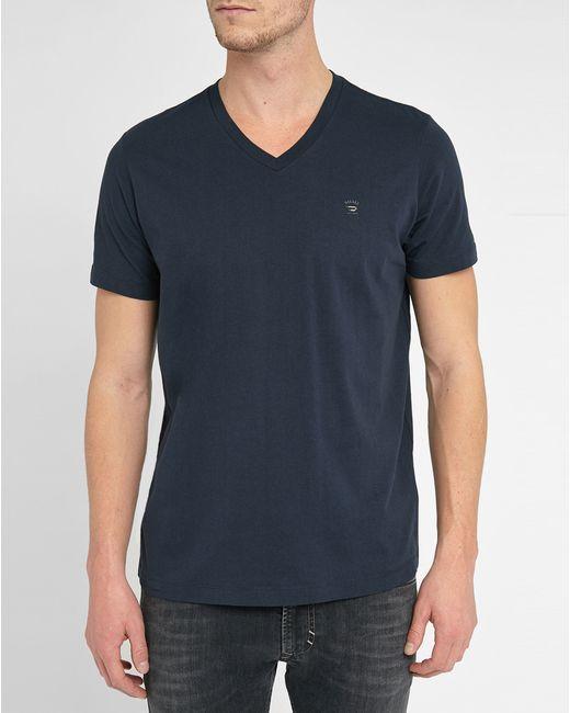 Diesel navy therapon logo v neck t shirt in blue for men for Mens diesel v neck t shirts