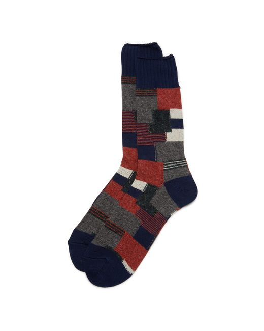 Anonymous Ism | Blue Patchwork Crew Socks for Men | Lyst