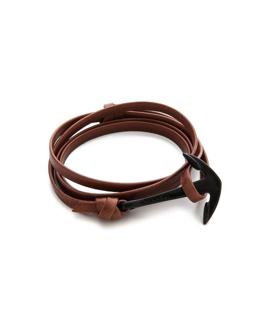 Miansai | Brown Anchor Leather Wrap Bracelet for Men | Lyst