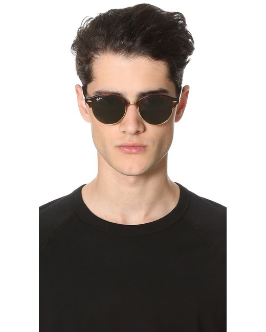 rayban club round sunglasses in brown for men red havana