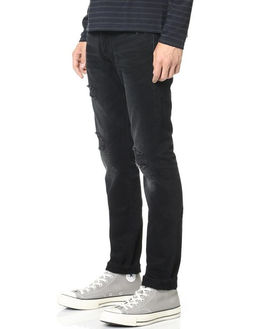 7 for all mankind Paxtyn Tapered Skinny Jeans in Black for Men | Lyst