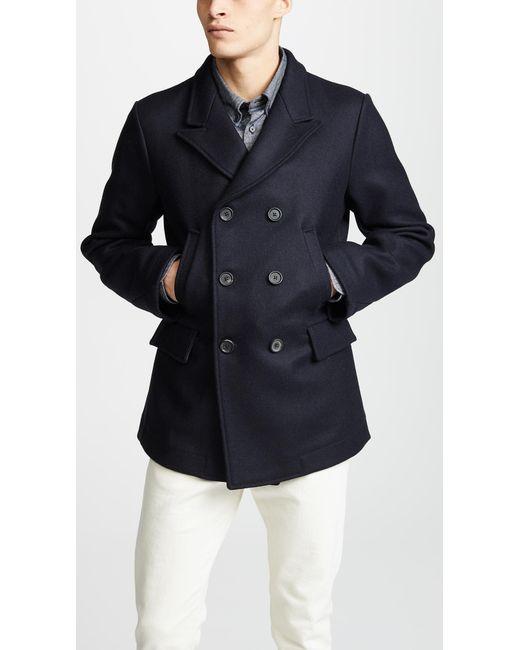 Billy Reid - Blue Wool Peak Lapel Pea Coat for Men - Lyst